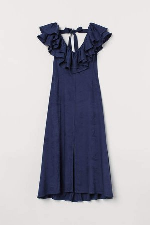 Long V-neck Dress - Blue