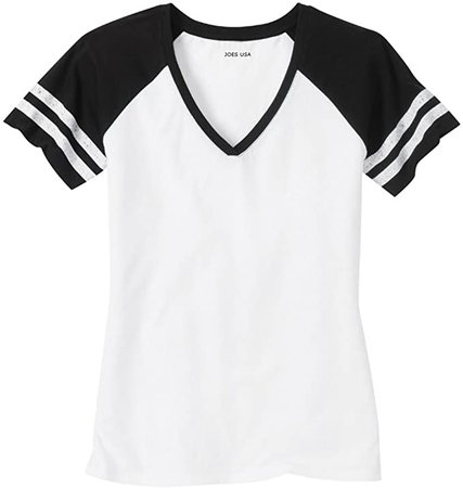 Amazon.com: Joe's USA Ladies Distressed Retro V-Neck T-Shirt-White Black-2XL: Clothing