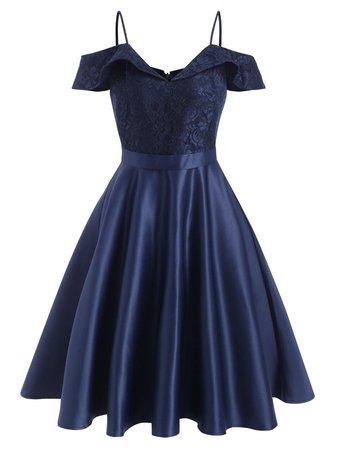 Lace Insert Cold Shoulder Foldover Cami Dress [28% OFF]   Rosegal
