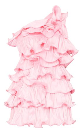 Pink One Shoulder Tiered Frill Shift Dress | PrettyLittleThing USA