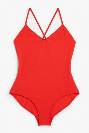 Cross back swimsuit - Red dragon - Swimwear - Monki DK