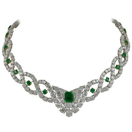 Cartier Diamond Emerald Demi Bib Necklace For Sale at 1stDibs