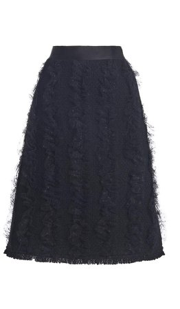 Giambattista Valli Frayed-Trim Tweed Skirt