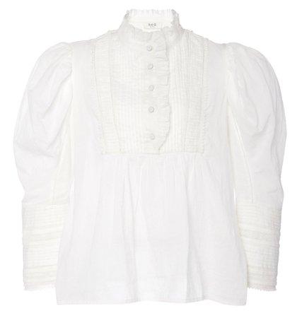 white ruffle shirt