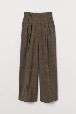 Wide-leg Twill Pants - Green
