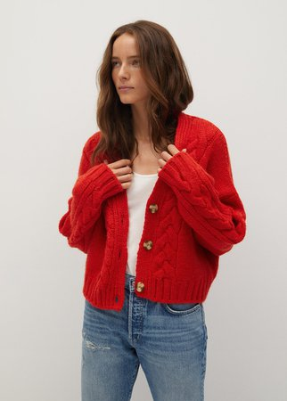 Cable-knit cardigan - Women | Mango USA