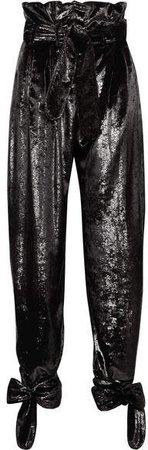 Tie-detailed Belted Metallic Velvet Straight-leg Pants - Black