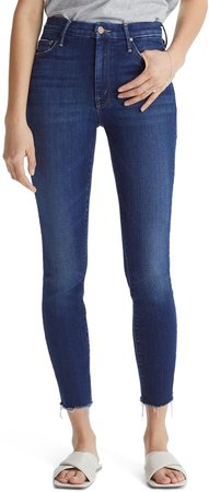 The Looker High Waist Frayed Ankle Skinny Jeans