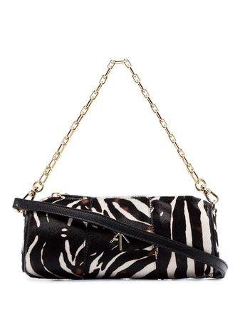Manu Atelier black Cylinder mini zebra print ponyskin shoulder bag $348 - Buy Online SS19 - Quick Shipping, Price