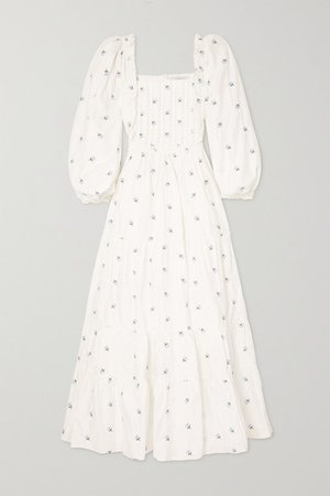 Daphne Tiered Crocheted Lace-trimmed Embroidered Cotton Maxi Dress - White