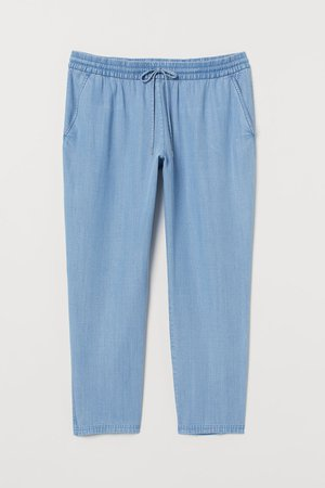 H&M+ Pull-on Lyocell Pants - Light denim blue - Ladies   H&M US