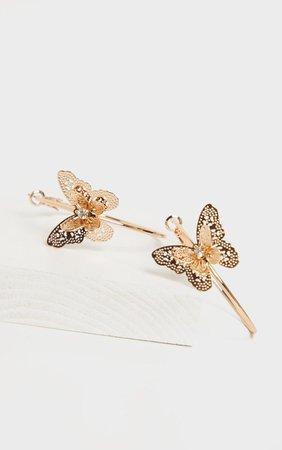 Gold Butterfly Hoop Earrings | Accessories | PrettyLittleThing