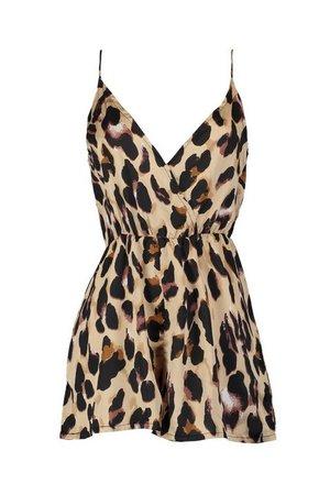 Satin Wrap Leopard Print Romper   Boohoo