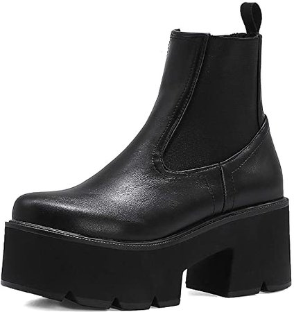 Amazon.com | heelchic Women Sexy Slip On Platform Boots Casual Square Toe Ankle Boots | Mid-Calf