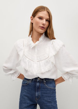 Openwork detail blouse - Women | Mango United Kingdom