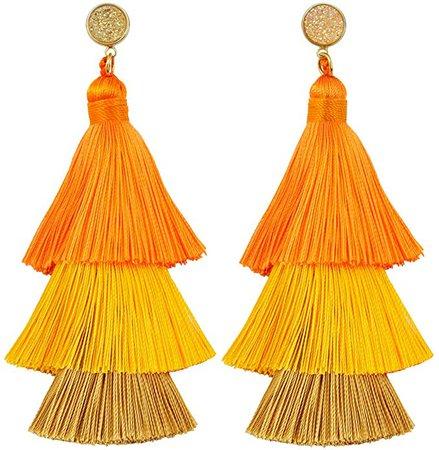 Amazon.com: TUMBEELLUWA Colorful Layered Tassel Earrings Stud Druzy Tiered Thread Dangle Drop Earrings, Orange: Clothing