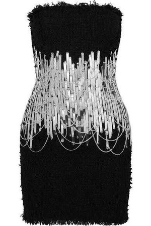Balmain - Embellished Strapless Tweed Mini Dress - Black