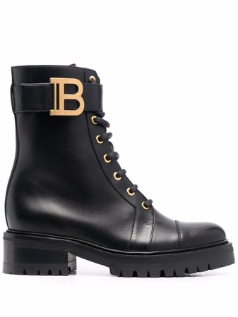 Balmain Ranger leather lace-up boots - FARFETCH