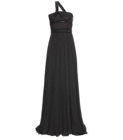 Embellished silk-blend gown