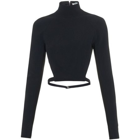 Mugler High-neck cut-away back cady top