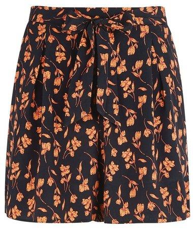 Black And Orange Floral Print Stem Shorts