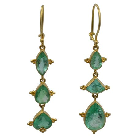 Emerald Earrings in Marquise and Pear Shapes Set in 18 Karat Yellow Gold For Sale at 1stDibs