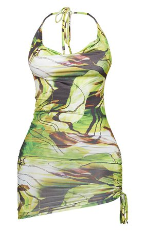 Shape Green Marble Halterneck Ruched Bodycon Dress | PrettyLittleThing USA