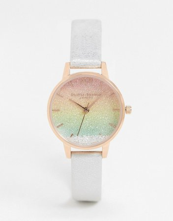 Olivia Burton rainbow wishing watch in white leather | ASOS