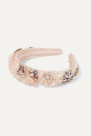 Pink Versailles embellished satin-jacquard headband | MaryJane Claverol | NET-A-PORTER