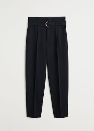 Belted crepe trousers - Women   Mango USA black