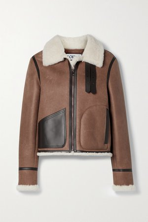 Leather-trimmed Shearling Jacket - Brown