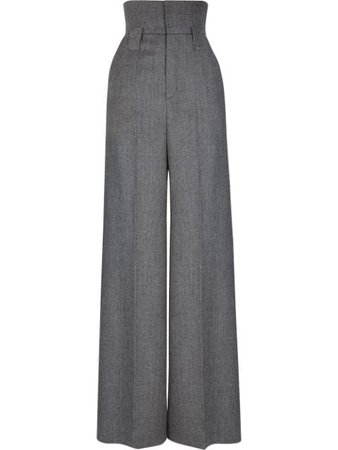 Shop blue Fendi high-waisted wool trousers with Express Delivery - Farfetch