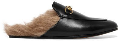 Princetown Horsebit-detailed Shearling-lined Leather Slippers - Black