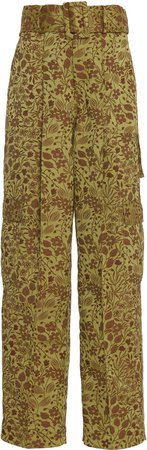 Floral-Patterned Twill Cargo Pants