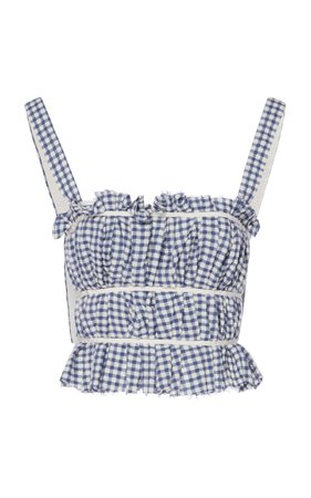 Brock Collection Papiro Plaid Pleated Wool-Blend Crop Top