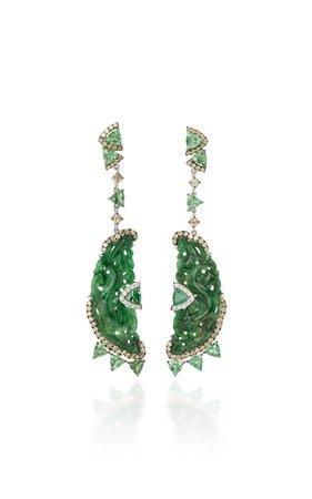 Jade And Tsavorite Earrings by Wendy Yue   Moda Operandi