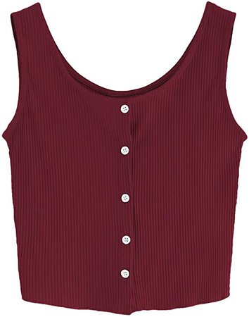 SweatyRocks Women's Sleeveless Vest Button Front Crop Tank Top Ribbed Knit Belly Shirt Burgundy M at Amazon Women's Clothing store