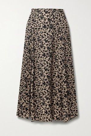 Zoe Leopard-print Crepe Midi Skirt - Leopard print