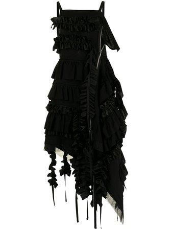 Yohji Yamamoto ruffled asymmetric midi dress - FARFETCH