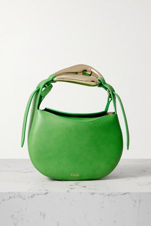 Kiss Small Leather Tote - Green