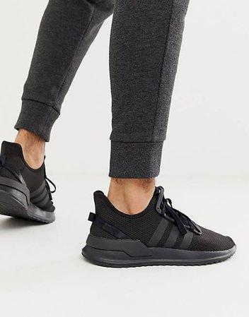 adidas Originals U-path run sneakers in triple black   ASOS