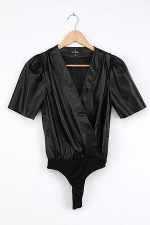 Black Bodysuit - Vegan Leather Bodysuit - Puff Sleeve Bodysuit - Lulus