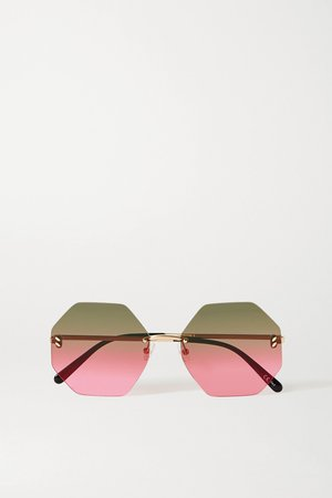 Gold Hexagon-frame gold-tone sunglasses | Stella McCartney | NET-A-PORTER