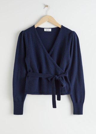 Wool Alpaca Blend Wrap Cardigan - Dark Blue - Cardigans - & Other Stories