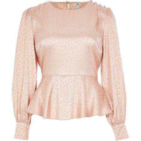 light Pink peplum jacquard long sleeve blouse top | River Island