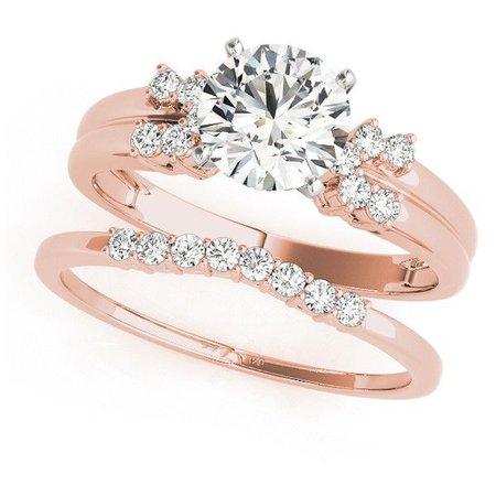 Rose Gold Diamond Wedding Ring & Band