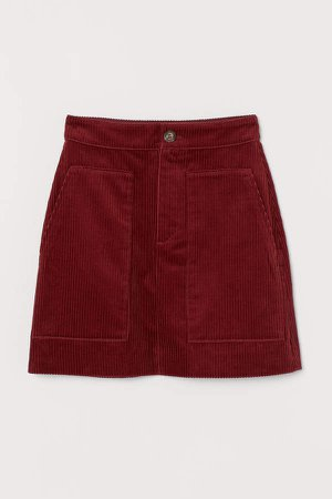 Corduroy Skirt - Red