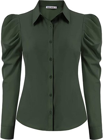 GRACE KARIN Women Long Sleeve Button Down Collared Office Formal Casual Blouse L, Army Green at Amazon Women's Clothing store