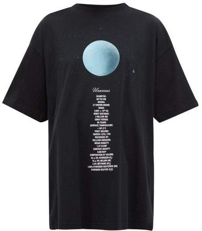 Uranus Oversized Cotton Jersey T Shirt - Womens - Black Multi