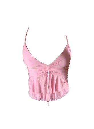 pink ruffle tank crop top Y2k